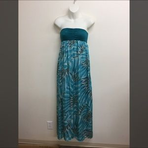 O'Neill teal feather maxi tube dress medium